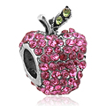 Free Shipping 1PC 2016 New Fashion DIY Round  Pink Crystal Snow White Apple Charms Beads Fit European Pandora Charm Bracelet
