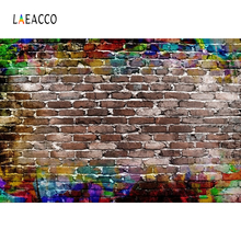 Laeacco Old Fade Colorful Brick Wall Vintage Grunge Photography Backgrounds Customized Backdrops For Photo Studio