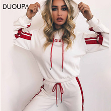 DUOUPA Solid Color Letter Print Sportswear Womens Two-Piece Spring Street T-Shirt Top and Jogging Suit Casual 2 Piece Set