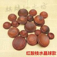 Sprzedawanie mahoń drewna rzeźba rękodzieło ozdoby kryształowej kuli baza red Suanzhimu orzech jajka gurda bazy
