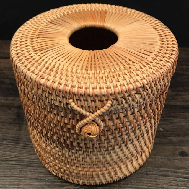 Unique Decorative Funny Round Roll Paper Rattan Tissue Napkin Box Holder  Case Toilet Paper Dispenser Home