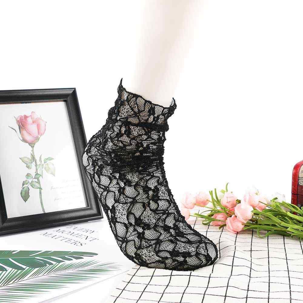 ลูกไม้ถุงเท้า Heap ถุงเท้าสีขาวสีดำดอกไม้ Vintage Boot Hollow Out เซ็กซี่โปร่งใส Sheer ตาข่าย Elegant Lady ถุงเท้าผู้หญิง
