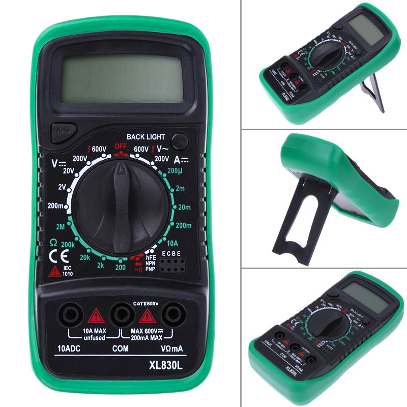 Professional XL830L Digital Multimeter Voltmeter Ammeter AC DC OHM Volt Tester LCD Test Current Multimeter Overload Protection