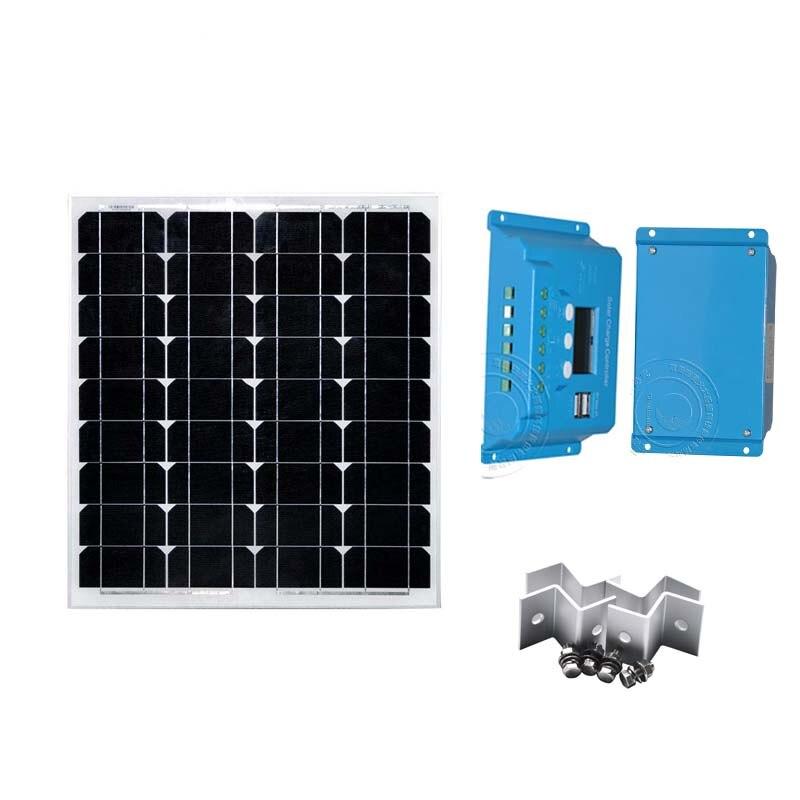 Módulo Do Painel Solar KIt 50W 12v Pwm Carregador Solar 10A 12 V/24 V Dual USB carregador de telefone Suporte Z Cmaping 1M Fio LED