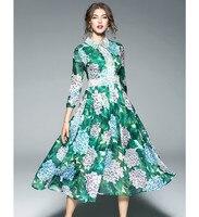 Runway 2018 Spring Women S Dresses Printed Bohemian Maxi Long A Line Lace Patchwork Feminine Dress