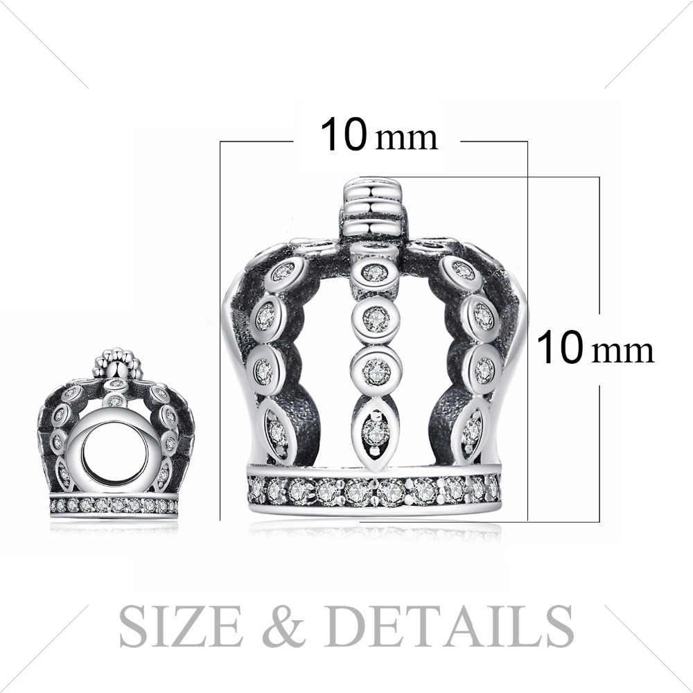 Jewelrypalace 925 סטרלינג כסף חלול החוצה כתר מעוקב Zirconia חרוזים קסמי Fit צמידי מתנות לנשים תכשיטים