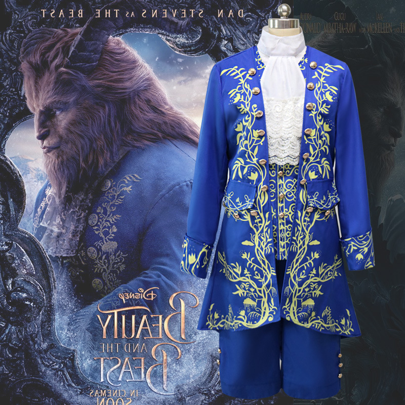Hot Sale Beauty And The Beast  Cosplay Costume Coat+Shirt+Vest+ Tie+Trousers The Beast Classic Adult  Costume Suit