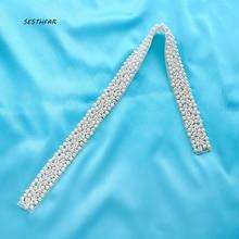 Handmade Bridal Gown Belt Rhinestone Applique Sewing On For Wedding Dress Sash Clear Crystal Accessory F164