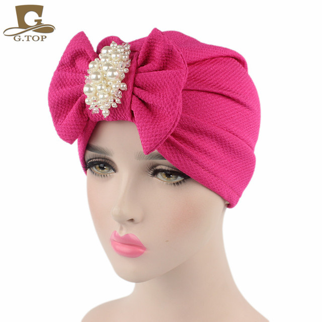94f786ef376 New fashion women luxury bow Turban with the pearl jewelry cotton Hat  Stylish Chemo cap detachable bowknot Indian cap
