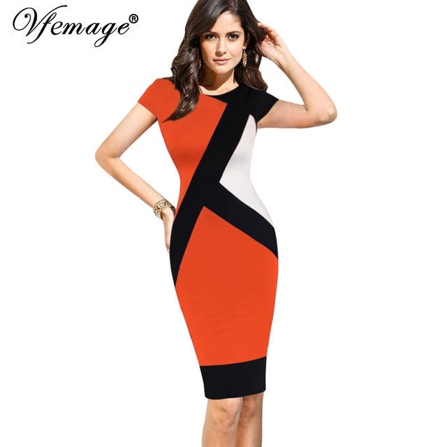 e9145aea82def Vfemage Womens Elegant Optical Illusion Colorblock Contrast Modest Slim  Work Business Casual Party Sheath Pencil Dress 4725-in Dresses from Women's  ...