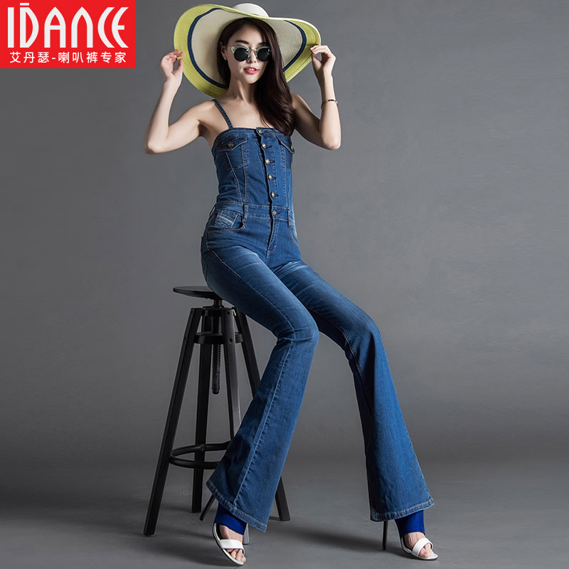 Free Shipping Fashion 2018 Summer Denim Bib Pants High Waist Boot Cut Spaghetti Strap Jumpsuit For Tall Women Plus Size 24-30