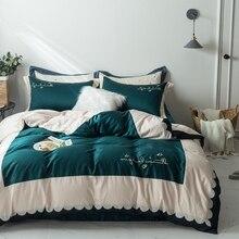 Домашний текстиль, комплекты постельного белья, набор постельного белья с вышивкой, постельное белье, пододеяльник, простыня, наволочка из египетского хлопка, комплекты постельного белья