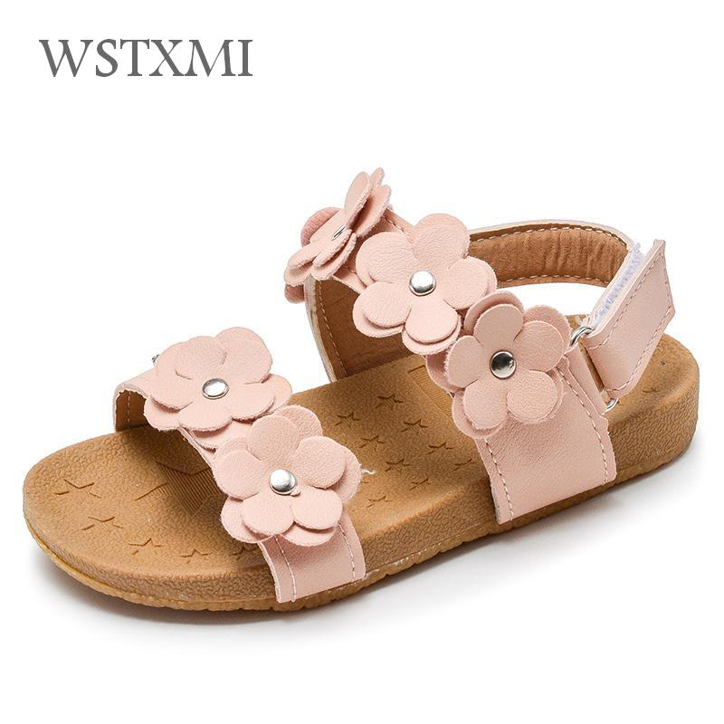 2019 New Summer Children Sandals For Girls Soft Leather Flowers Girl Princess Shoes Kids Beach Sandals Casual Baby Toddler Shoes