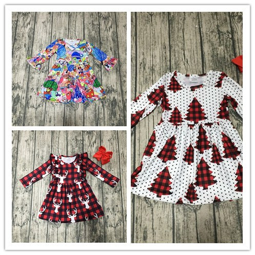baby kids Fall / Autumn dress girls Christmas tree dress plaid reindeer dress girls cotton dress with bows milk silk dress color block plaid dress