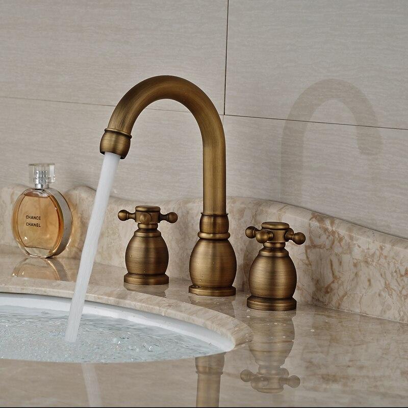 ФОТО Antique Brass Dual Handle Basin Faucet Widespread 3 Hole Bathroom Mixer Taps Deck Mount
