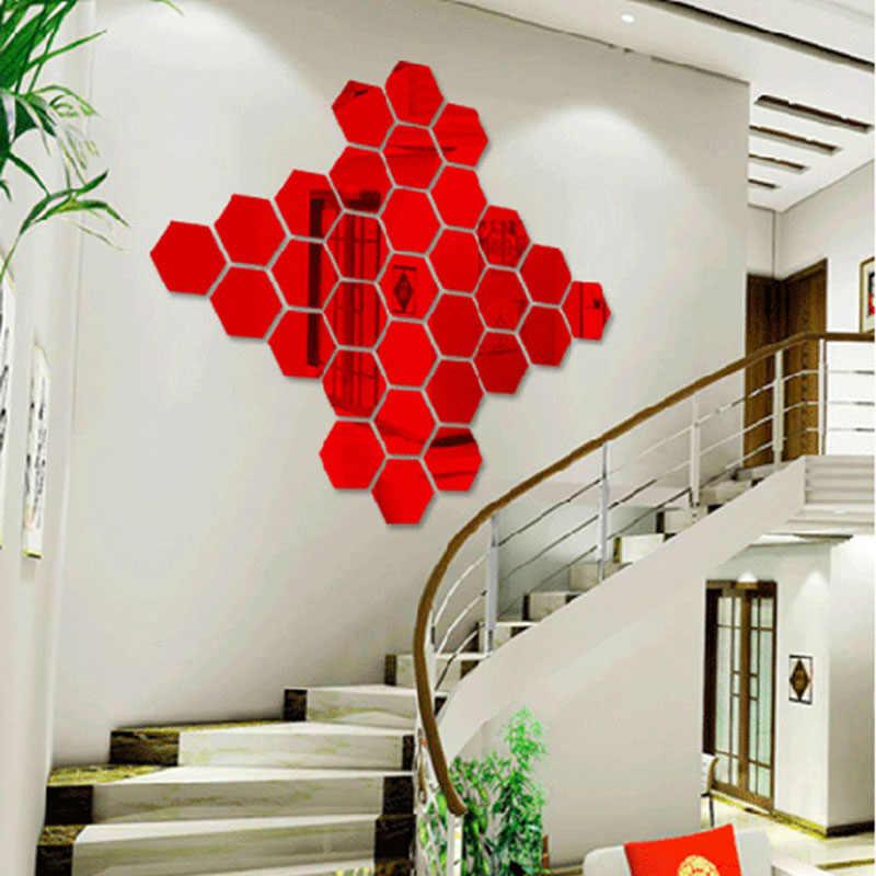 De moda de Nova Modern 8*7*4 cm 3D Espelho Adesivo Removível Home Decor DIY Proteção Ambiental do Hexágono