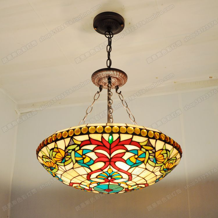 18 inch color anti baroque chandelier tiffany the european night tiffany the pastoral inverted chandelier selection of high quality stained glass handmade elegant colors aloadofball Images