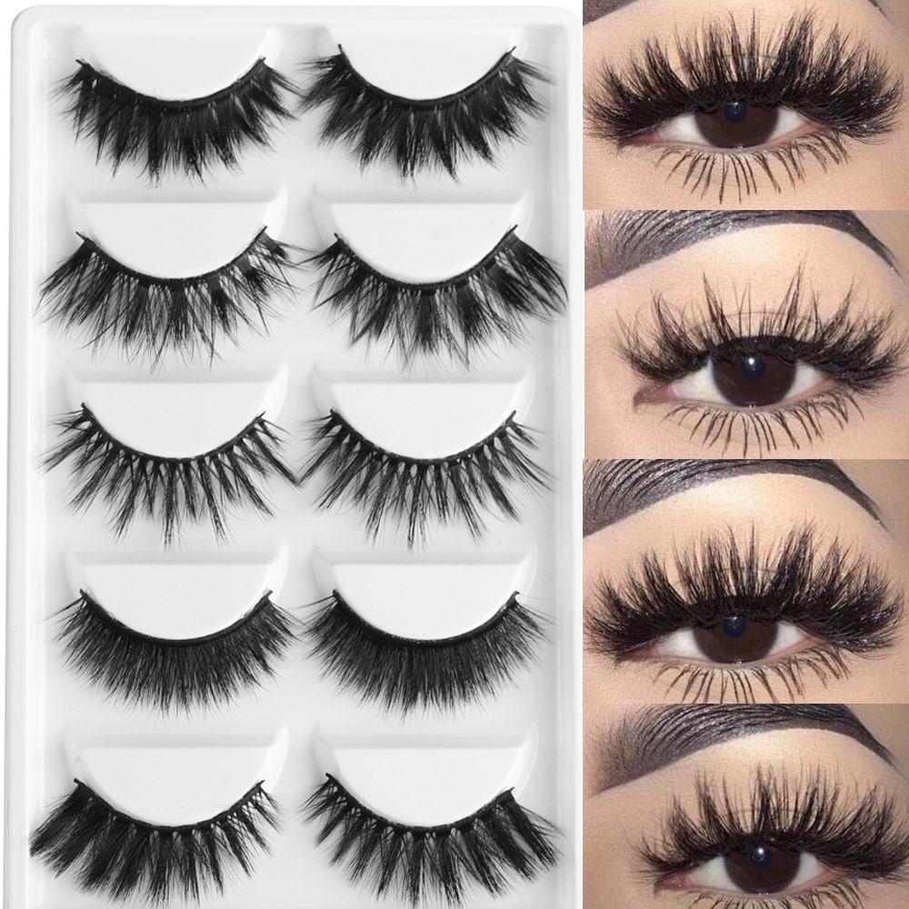 1b118433e91 5 Pairs Multipack 3D Soft Mink Hair False Eyelashes Handmade Wispy Fluffy  Long Lashes Natural Eye