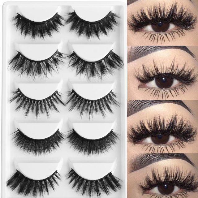 5 Pairs Multipack 3D Soft Mink Hair False Eyelashes Handmade Wispy Fluffy Long Lashes Natural Eye Makeup Tools Faux Eye Lashes