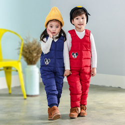 Boys Down Overalls Children Clothing Baby Outside Jumpsuit Winter Girls Mickey Romper Overalls Kids Thick Warm Windproof Clothes