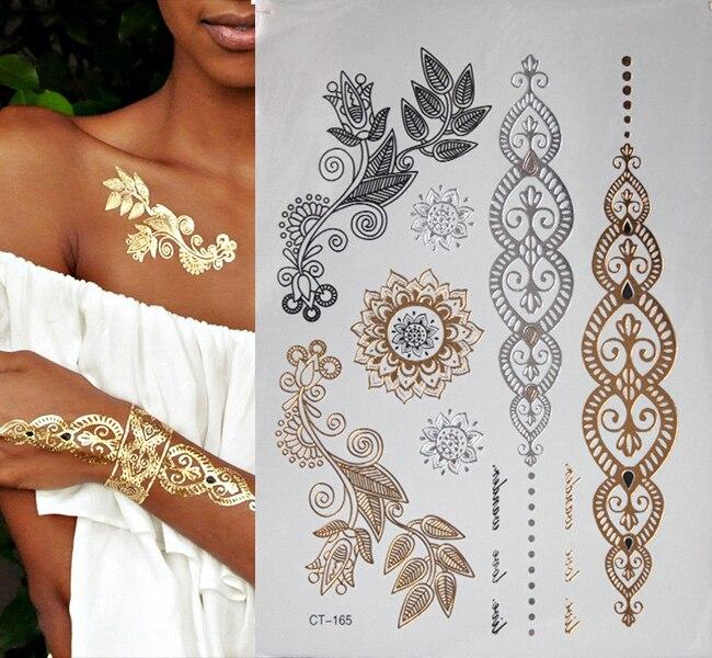 dfba5f72b New body art gold glittering jewelry tattoos waterproof temporary tattoo  tattoo women fake flash metal arm