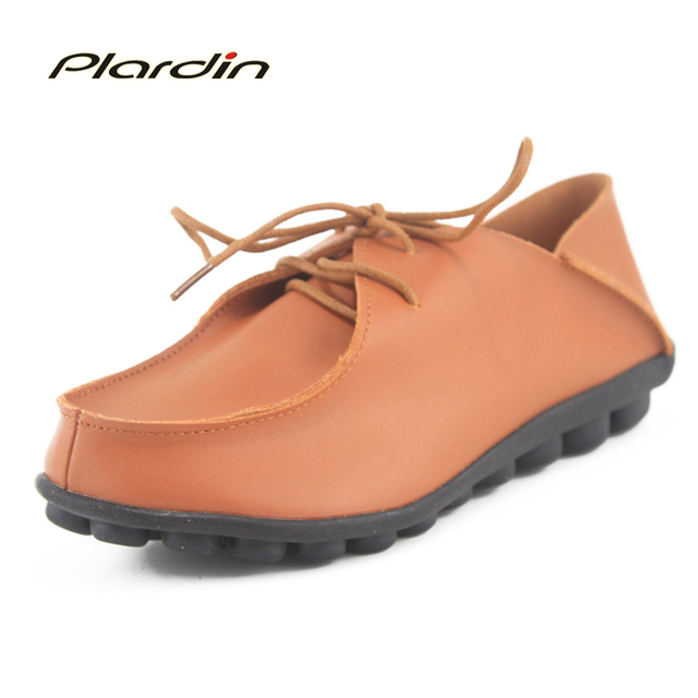 Wholesales Discount Women Genuine Leather Shoes Comfortable Breathable Casual Comfortable Platform Shoes Female Flats Free Ship
