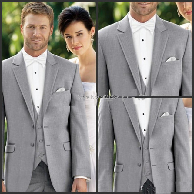 Light Grey Suit Lavender Vest Groom Tuxedos Notch Lapel Best Man Groomsmen Men Wedding Suits Bridegroom