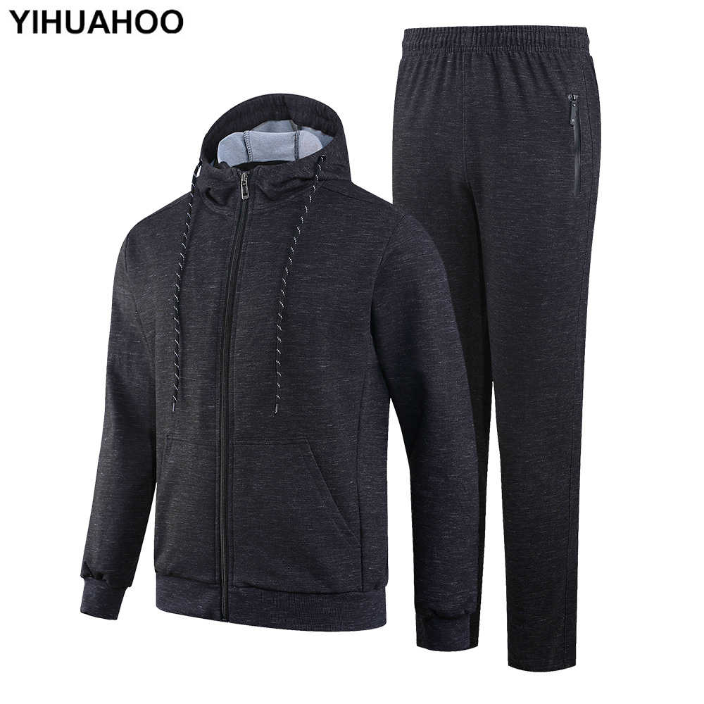 YIHUAHOO спортивный костюм мужской зимне-осенний комплект одежды из 2 предметов куртка и штаны двухсекционные спортивные штаны спортивный костюм мужской KSV-TZ070