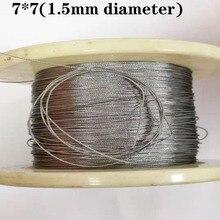 100 м 304 1,5 мм Диаметр из нержавеющей стали трос кабель мягче рыболовный подъемный кабель 7X7 структура 1,5 мм диаметр