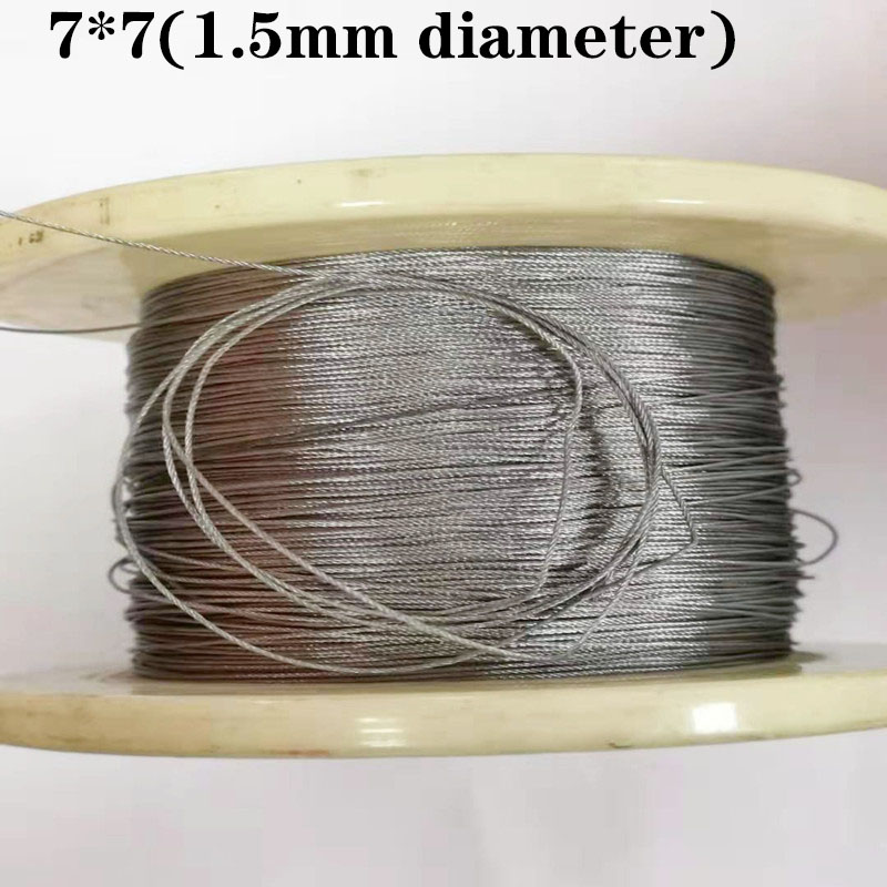 100M 304 1.5mm Diameter Stainless Steel Wire Rope Cable Softer Fishing Lifting Cable 7X7 Structure 1.5mm Diameter