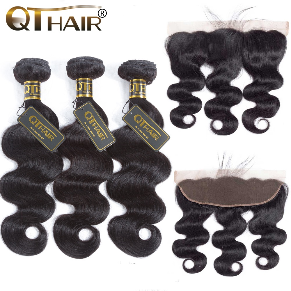 QT Human Hair 3 or 4 Bundles Brazilian Body Wave with Frontal Closure 13*4 Lace Frontal Closure with Bundles Remy Human Hair