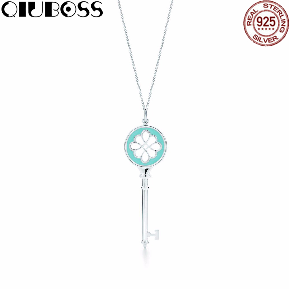 QIUBOSS Silver Pendant Necklaces Women Genuine pure pure sterling silver chain TIFF 925 Sterling Silver Pendant Long
