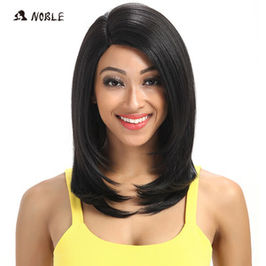 Image 1 - Noble For Black Women 18 Inch Straight Hair U Part Elastic Lace Synthetic Wigs Cosplay Wig Natural Color 1B Synthetic Lace Wig