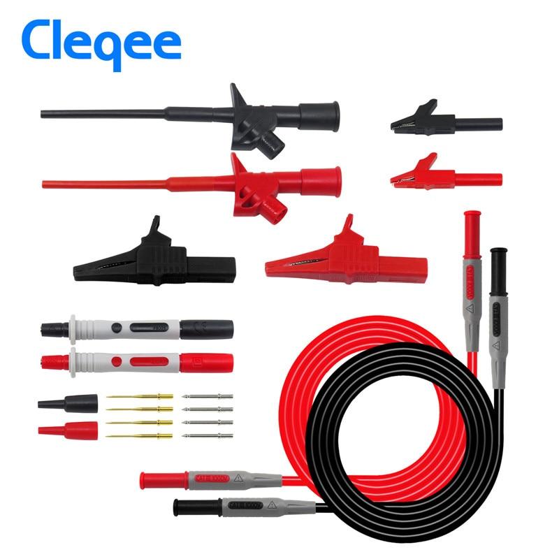 Cleqee P1600B Multimeter Test Lead Kit 10-in-1 Automotive Electronic Probe Kits Alligator Clip Banana Plug Test Hook Cable Set
