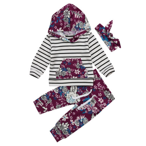 Newborn Kids Baby Boy Girl Hooded Outfit Clothes Striped Pocket Romper Tops+Floral Pants Headband 3pcs Cotton Warm Set