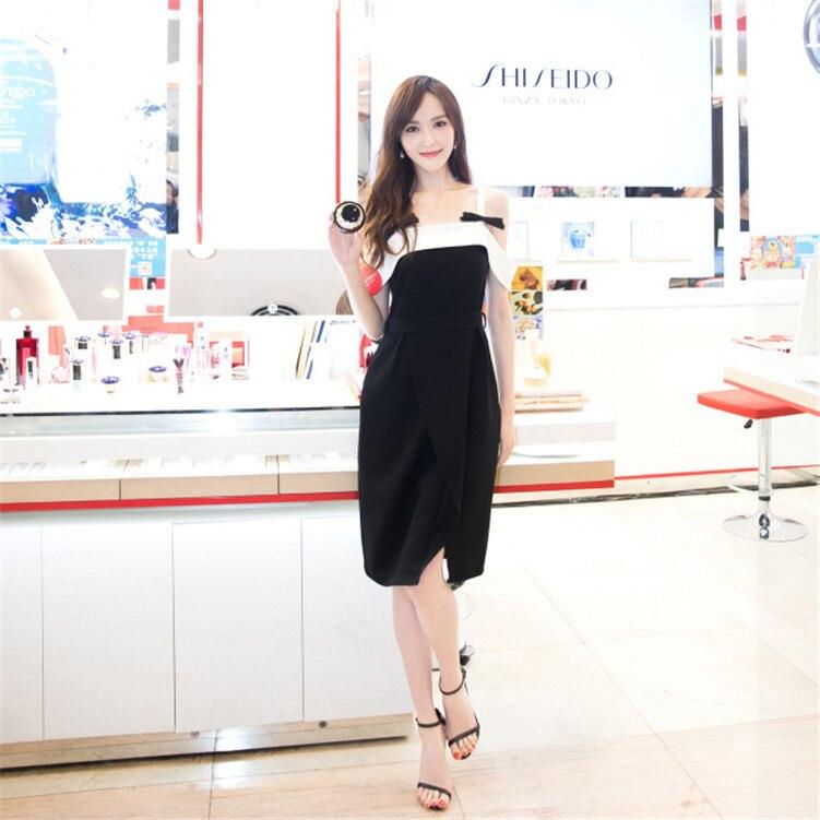 Negro Mismo Sling F0687 El Mujer Palabra Vestido Pajarita Nuevo Una Hombro Largo Tiene qZOEXwxt