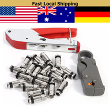 цена на 1 Set Coaxial Cable Wire Stripper F-Type Compression Tool Kit For RG58 RG59 RG6 Connectors Cable Stripper Coaxial Crimping Tool