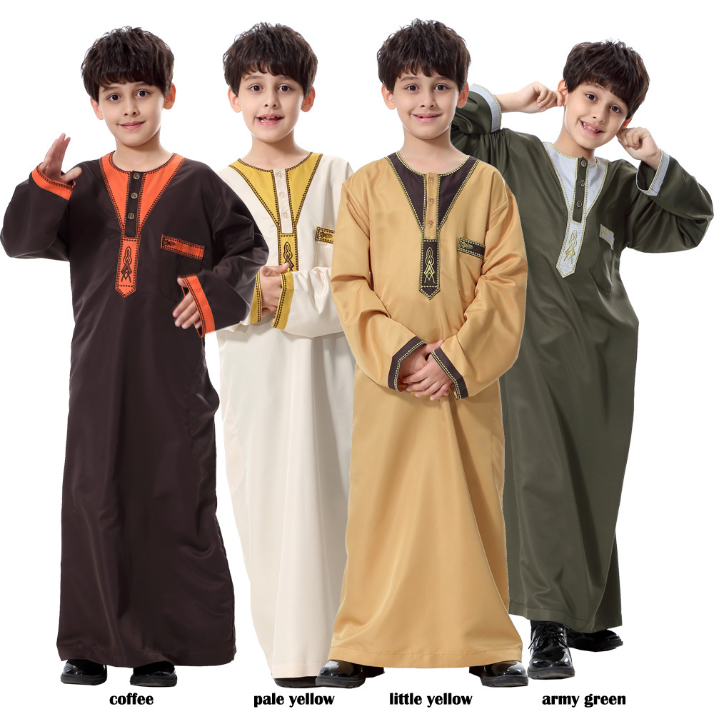 1Y-12Y Childrens Long Sleeve Ramadan Festival Muslim Long Dress Arabian Robe Dress Headscarf Set Traditional Costume