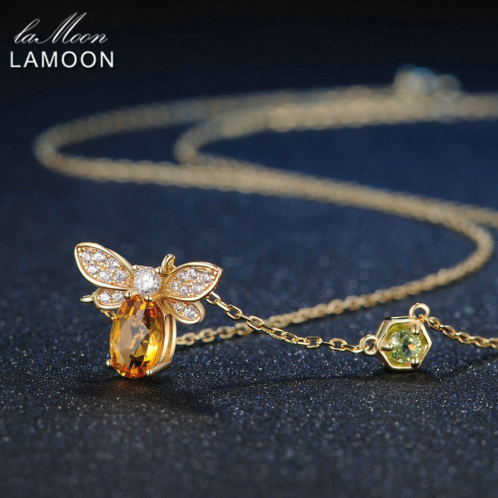LAMOON Collana con ciondolo in argento sterling 925 Fine Jewelry Bee 1ct 100% Natural Citrine Fashion Yellow Lunghe catene con ambra Collane