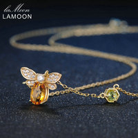LAMOON 925 Sterling Silver Pendant Necklace Fine Jewelry Bee 1ct 100% Natural Citrine Fashion Yellow Long Chain Amber Necklaces