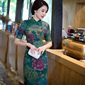 Nova Chegada de Cetim de Seda Vestido Longo Cheongsam Moda Estilo Chinês das Mulheres elegante Qipao Vestidos Tamanho S M L XL XXL XXXL 216046