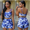 new 2016 summer sexy regular print lace Spaghetti strap crop top back zipper short plus size two casual piece set women AT005