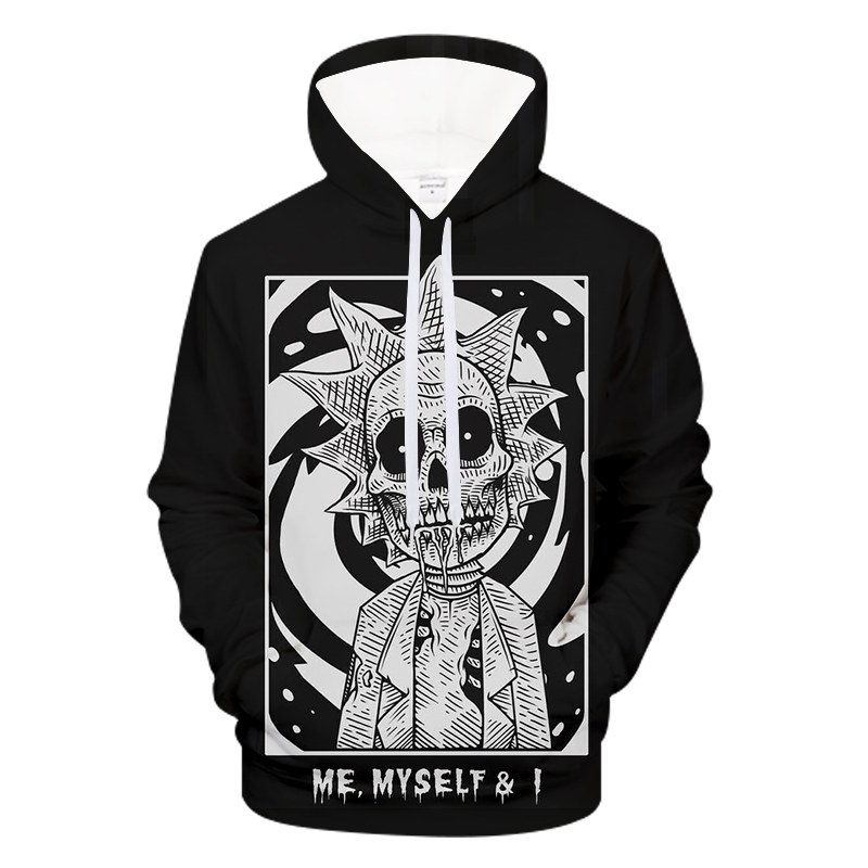 Men's Funny Skull 3D Printed Hip Hop Hooded Rock Funny Tops