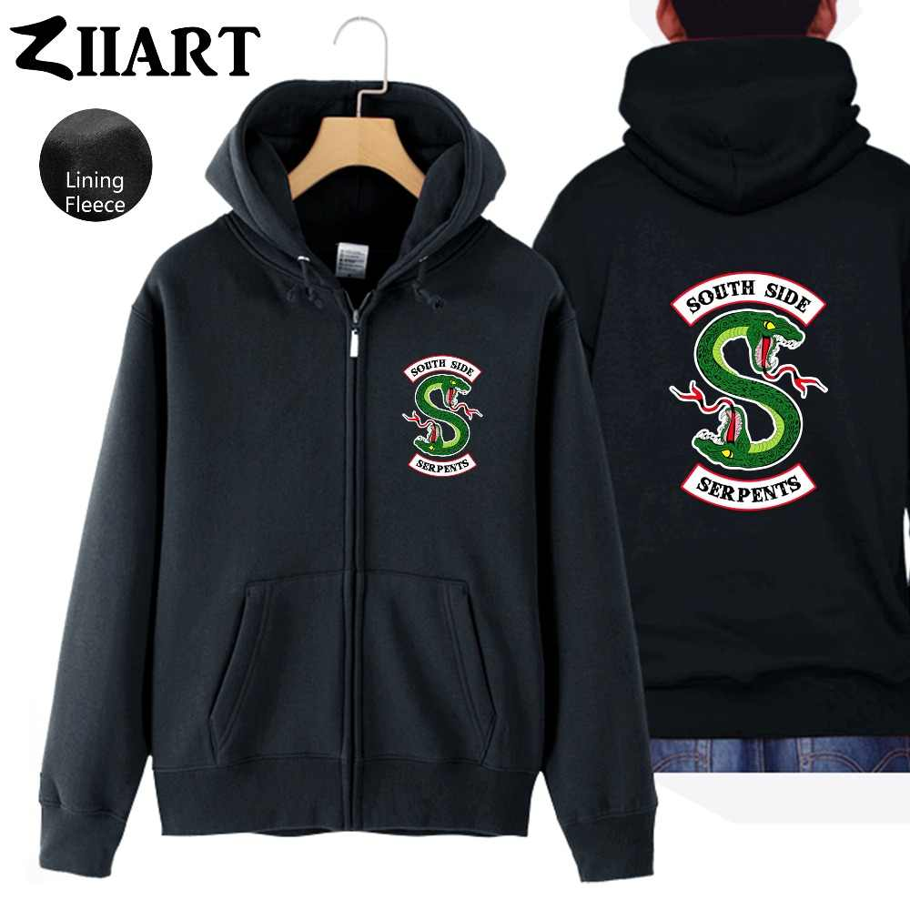 riverdale south side serpents snake Couple Clothes Girls Woman Full Zip Fleece Hooded Coat Jackets Autumn Winter ZIIART