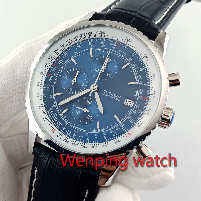 Chronograph watch 46 5mm blue dial black leather strap polisher silver steel case Quartz Movement VK67
