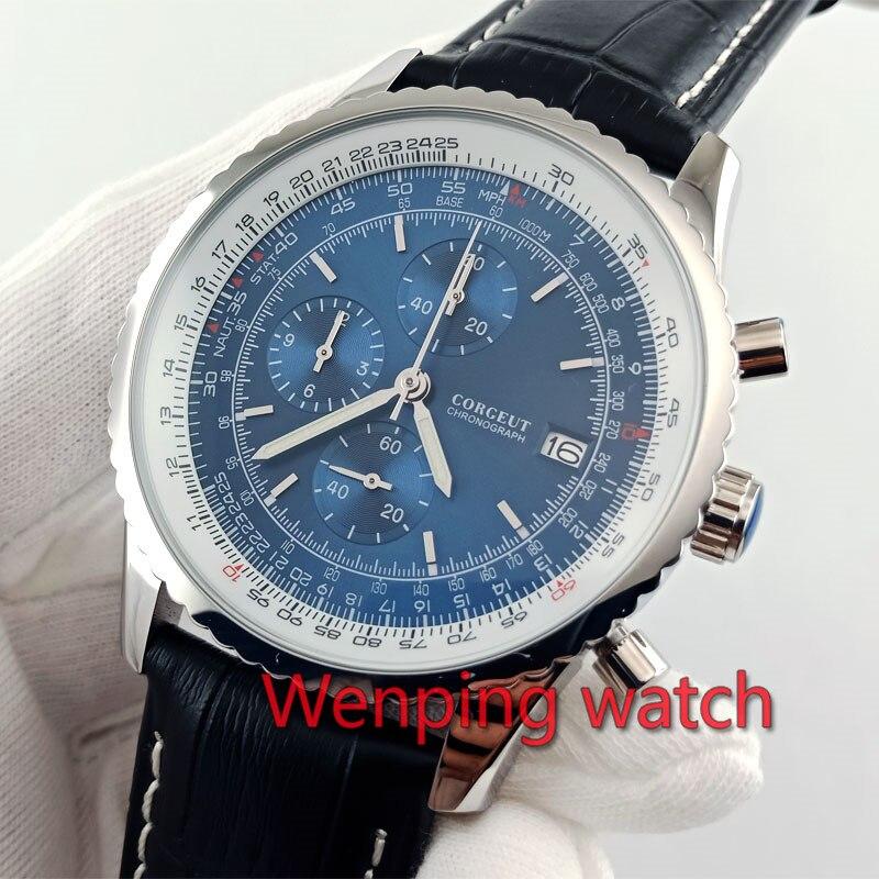 Saatler'ten Kuvars Saatler'de Kronograf saat 46.5mm mavi kadran siyah deri kayış parlatıcı gümüş çelik kasa Kuvars Hareketi VK67 W2869'da  Grup 1
