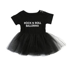 87bf15d56fe Pudcoco Одежда для маленьких девочек тюль Рок н ролл Письмо печати  комбинезон платье принцессы Тюль Кружево