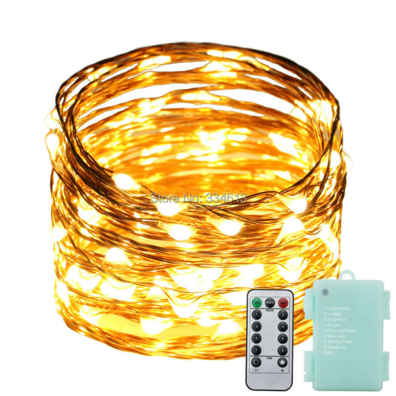 6AA Battery Powered 10M 100LED Fairy String Lights, Copper Wire Decoration Christmas Garden Lights 8 Flash + Remote Control
