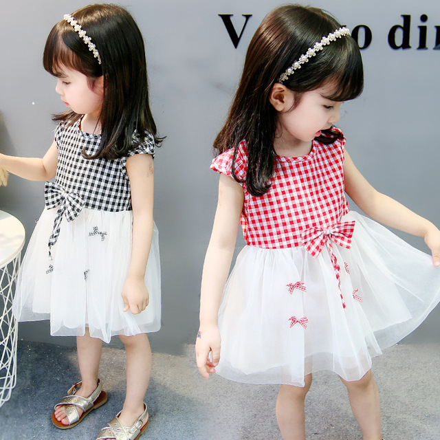 2 To 7 Years Old Princess Plaid Dress Baby Girls Dresses 2018