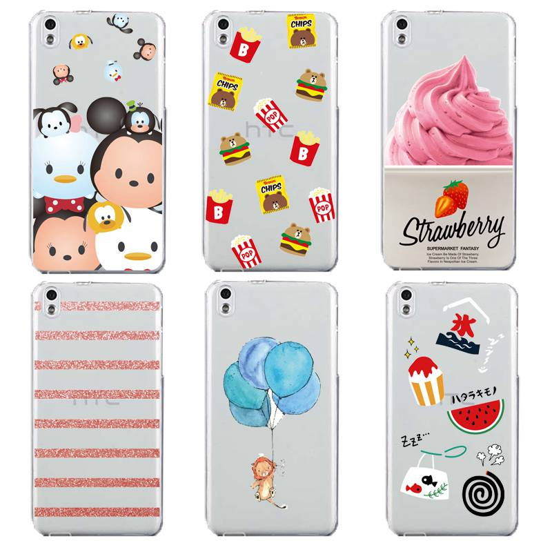 Ballon Soft Clear TPU Phone Case For HTC D820 M8 M9 A9 Micky Minnie FrenchFries Icecream Watermelon Coque Cover Free Shipping